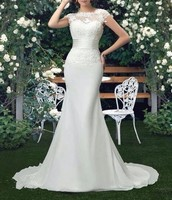 Vestido De Novia Mermaid Scoop Wedding Dresses Court Train Short Sleeve Customized Cheap Brides Dress Long Chiffon Bridal Gown