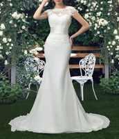 Vestido De Novia sirena vestidos Novia cuello redondo corte tren manga corta personalizado barato novias Vestido largo Vestido en gasa para Novia