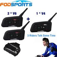 Fodsports Marque 1 * V4 + 2 * V6/set 1200 m BT Casque 3 Coureurs Parler Pour Le Football arbitre Juge Biker Sans Fil Bluetooth Interphone