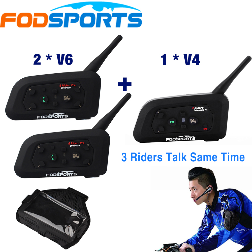 Fodsports Brand 1*V4+2*V6/set 1200m BT Headset 3 Riders Talking For Football Referee Judge Biker Wireless Bluetooth Intercom