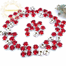 3mm 4mm 5mm 6mm 7mm 8mm Red Diamond shape Glass Crystal rhinestones with silvery claw Diy wedding dress accessories