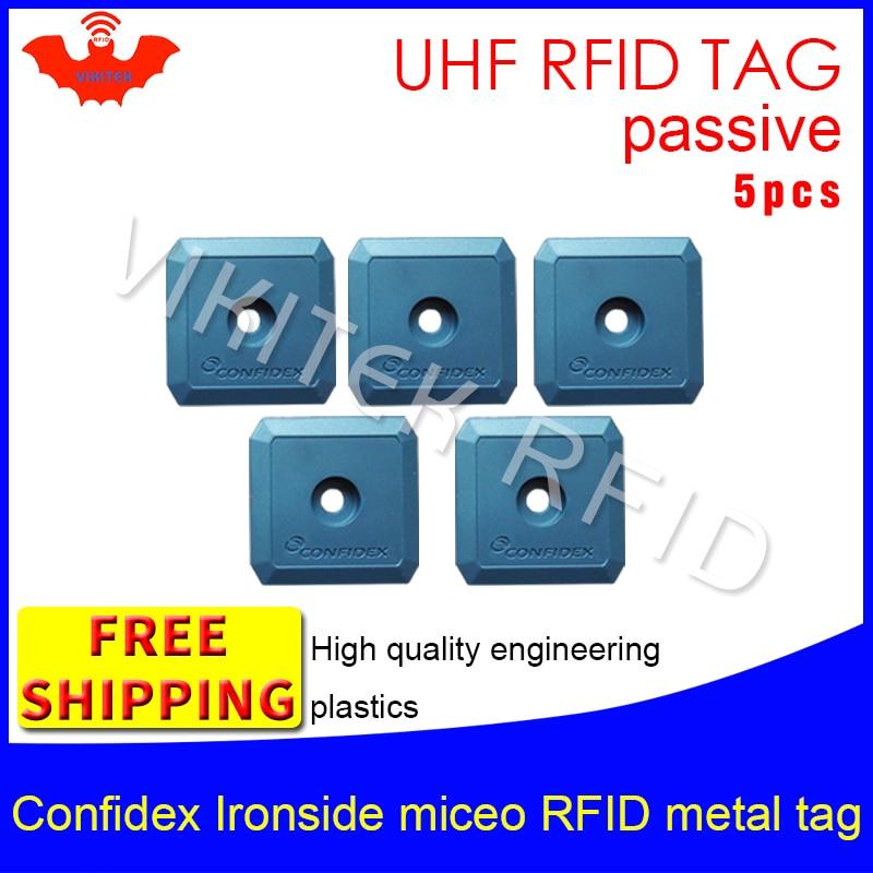 UHF RFID Metal Tag Confidex Ironside Mirco 915m 868m Impinj Monza4QT EPC 5pcs Free Shipping Durable ABS Smart Passive RFID Tags