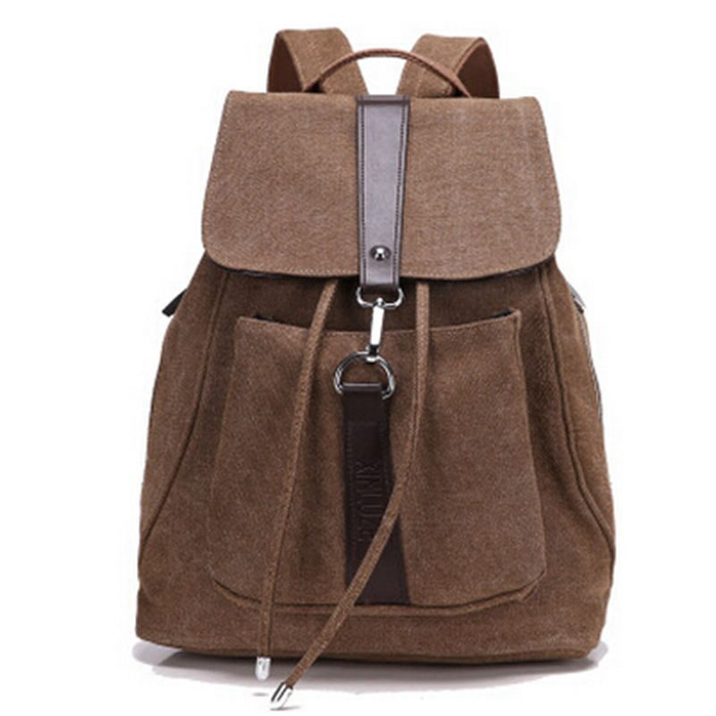 6 Colors Fashion Women Canvas Backpack Female Mochila Bagpack Rucksack Drawstring Bag School Should Backpacks Free