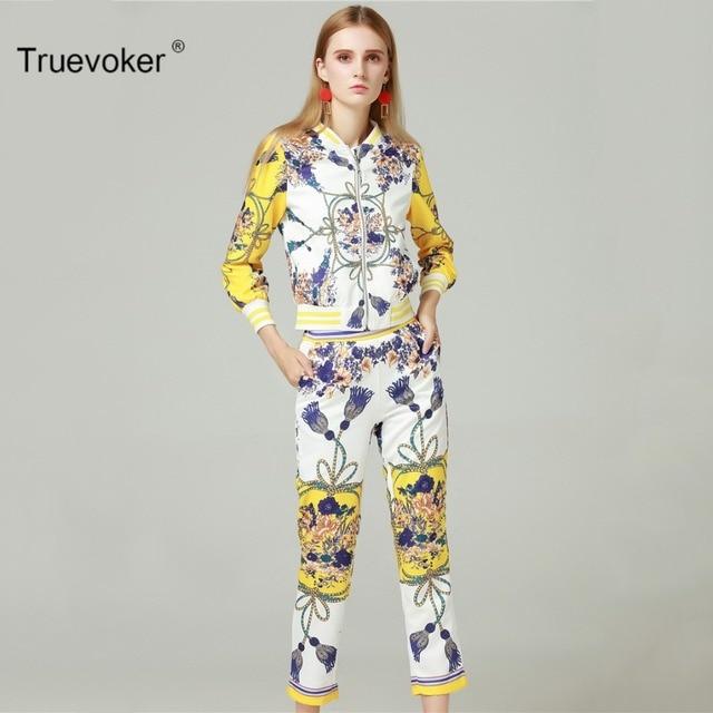 Truevoker Autumn Designer Set Suit Women s High Quality Long Sleeve Luxury  Baroque Gold Printed Zip Up Hoodies + Trousers 6488e55735e3