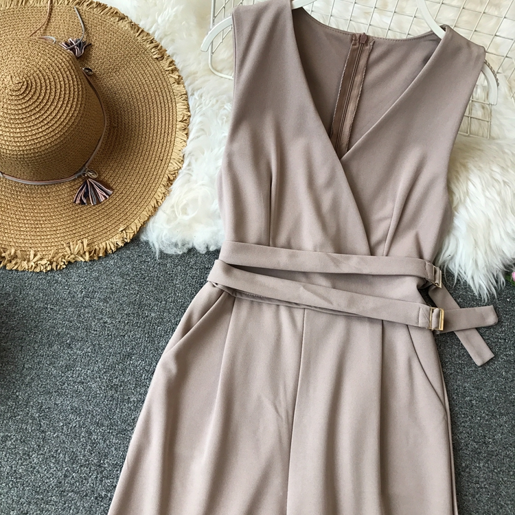 ALPHALMODA 2019 Spring Ladies Sleeveless Solid Jumpsuits V-neck High Waist Sashes Women Casual Wide Leg Rompers 35