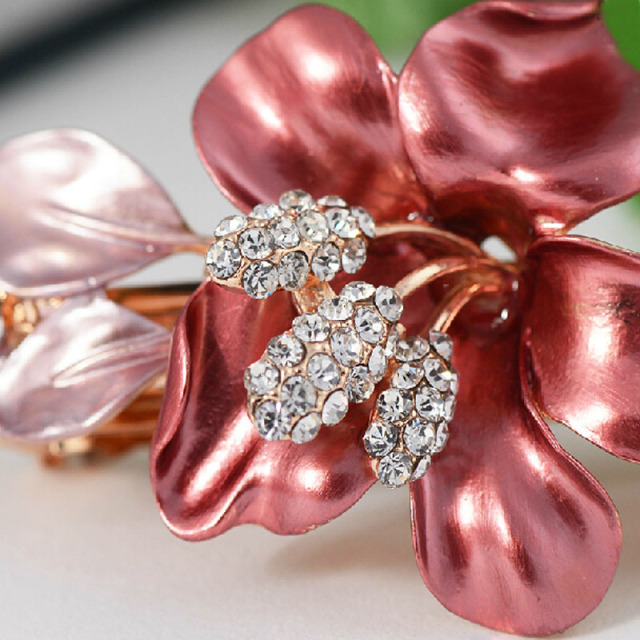 Gold Plated Floral Hair Clip with Rhinestones