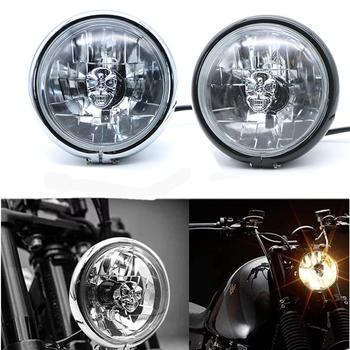 Motorcycle Skull Front Head Light Headlight Head Lamp For Honda Suzuki Kawasaki Yamaha GN125 Cruiser Bobber Touring