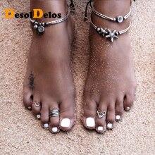 Vintage Bracelet Foot Jewelry Retro Anklet For Women Girls Ankle Leg Chain Charm Starfish Beads Bracelet Fashion Beach Jewelry retro lace beads anklet for women