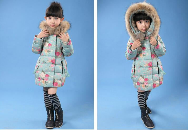 New Brand Children Outerwear Fashion Flower Warm Cotton Down Girl Winter Coat Kids Clothes Baby Girls Jackets For 1T-6T HB5057 keaiyouhuo 2017 new winter coat children clothes long sleeve printing jackets for girls cotton kids down jacket hooded outerwear