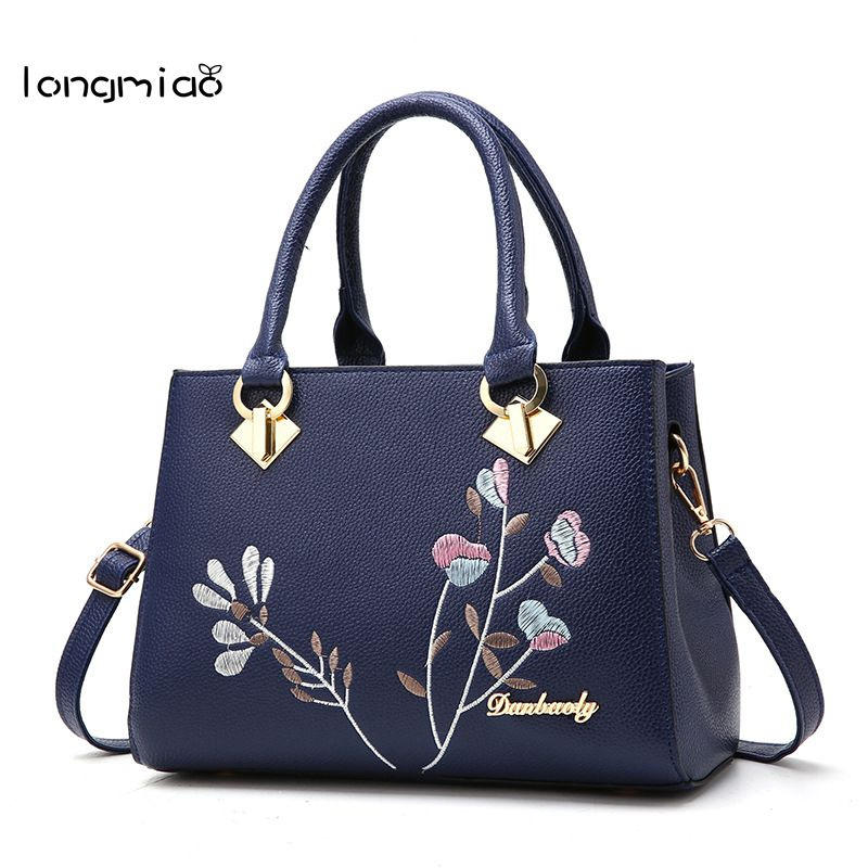 longmiao National Floral Women Messenger Bags Lady Designer PU Leather Embroidery Flowers Crossbody Shouler Bags Sac a Main 1