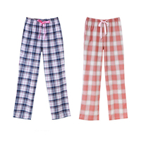 CILER Women's 100% Cotton Sleep Bottoms Spring and Autumn With Ribbon Bowknot Lounge Pants Full Plaid Print Trousers