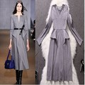 Marca Designer mulheres outono inverno vestido ocasional do Vintage mulher profundo decote em V vestidos longos Vintage nova moda cinza roupas A0157
