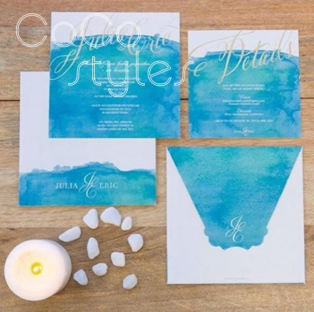 Cocostyles Customized Beautiful Blue Water Color Invitation Card Set With Gold Foiling Printing For Beach Wedding