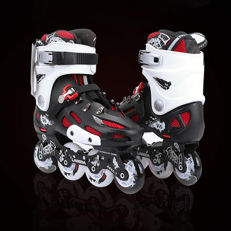 2018 NEW Inline Professional Adult Women Men Slalom Ice Skating Skate Shoes Washable PU Wheels Adulto Super High Quality vik max hot sale cheap adult white figure hockey skate shoes ice skate shoes with high carbon steel ice blade