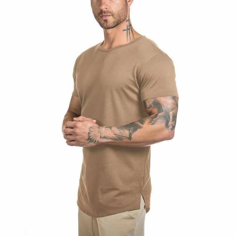 622b8891 Mens Gyms Muscle T Shirt Fitness Bodybuilding Workout Curved Hem Short  Sleeve Longline Hip Hop 2018