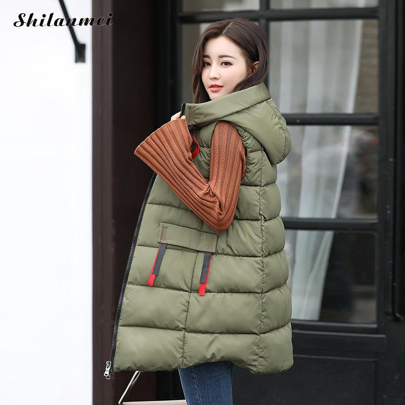 2017 Fashion Cotton Padded Hooded Long Womens Vest Parka tops Colete Feminino Warm winter Cotton Vests Ladies Sleeveless Jacket
