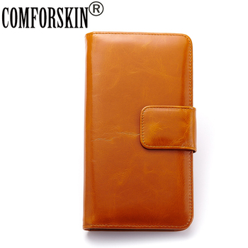 COMFORSKIN Carteira European and American Genuine Leather Long Retro Organizer Wallet High-end Market Large Capacity Card Wallet