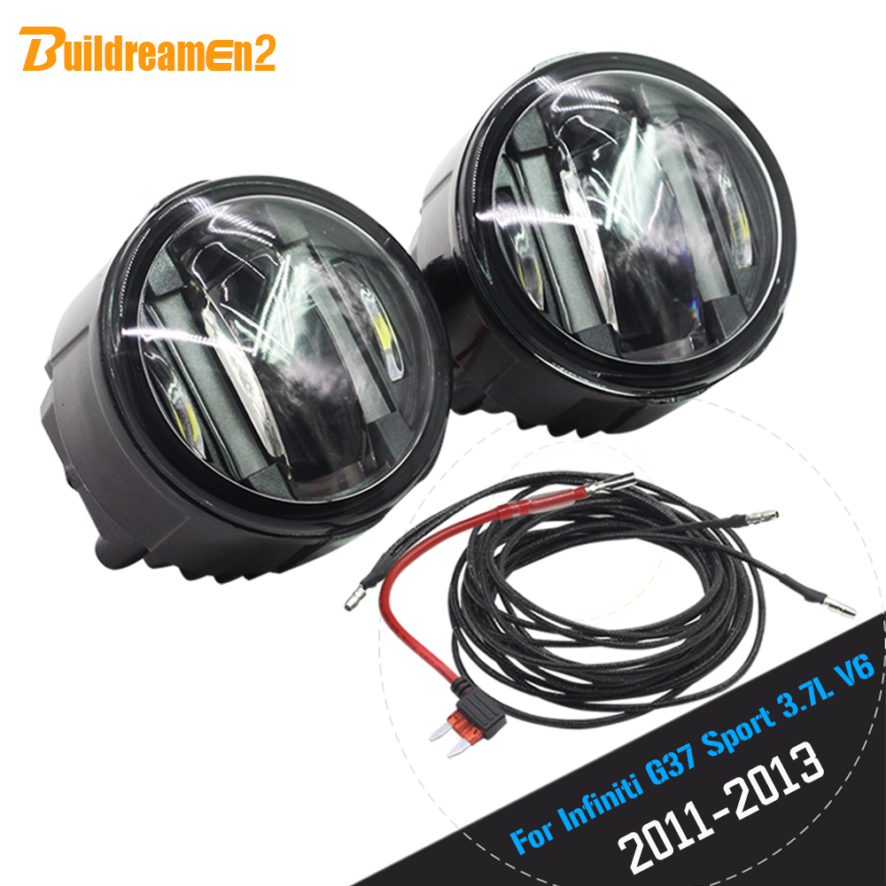 Buildreamen2 Car Accessories LED Light Source Fog Lamp Daytime Running Lamp DRL For Infiniti G37 Sport 3.7L V6 Gas 2011-2013 cawanerl 2 pieces car styling led fog light daytime running lamp drl 12v for infiniti g37 sport 3 7l v6 gas 2011 2012 2013