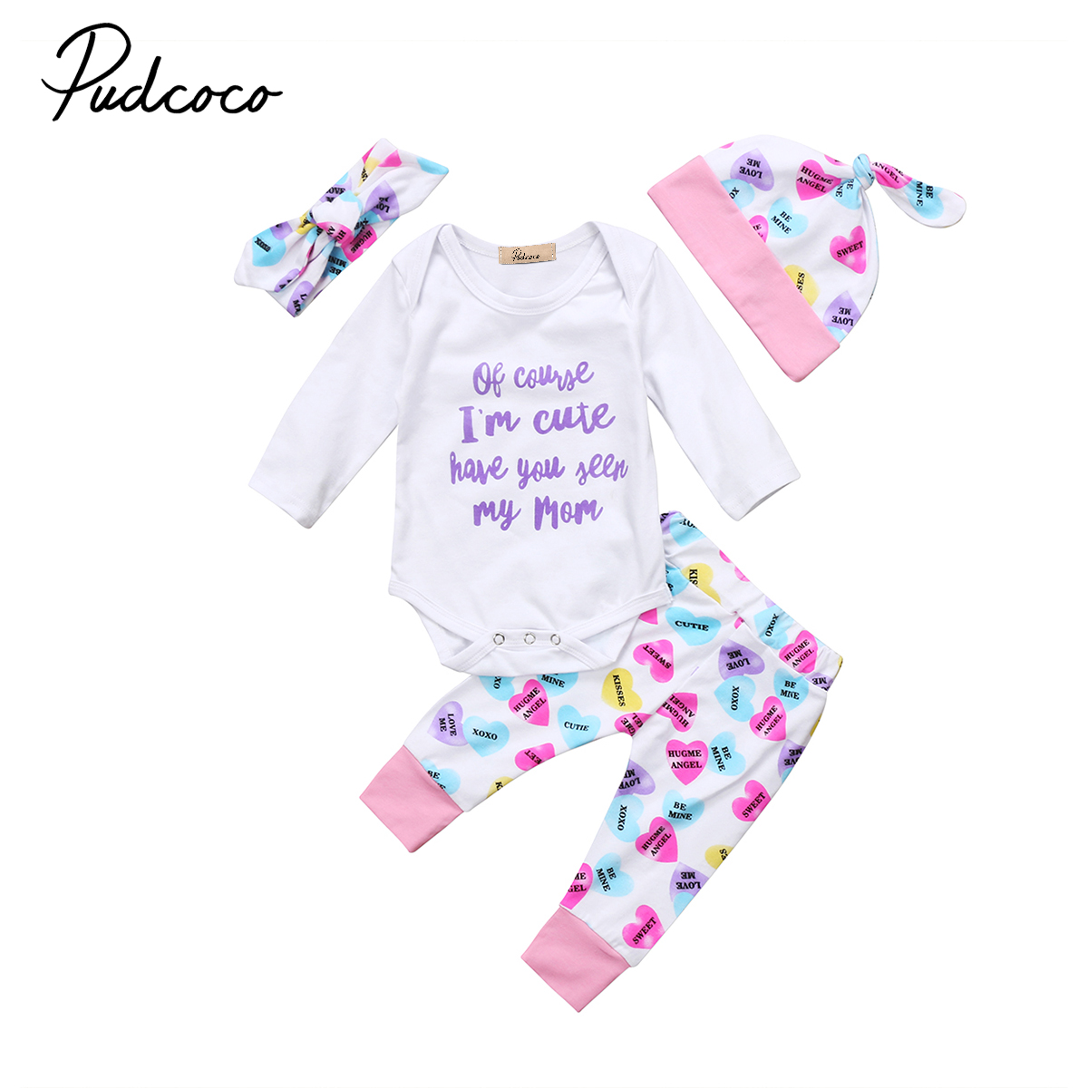 Cute 4Style Newborn Infant Baby Girls Winter Clothes Letter Print Floral Romper Long Pants Leggings Outfits Cotton Toddler
