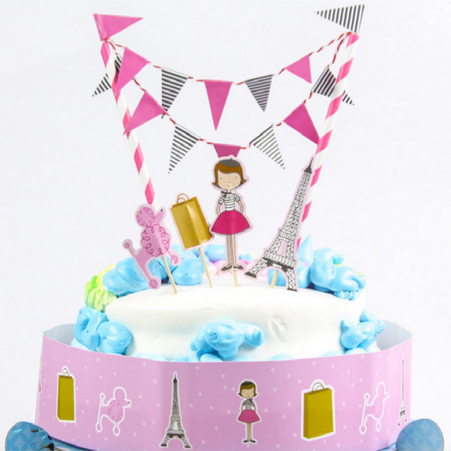 Free Shipping Eiffel Tower Girl Birthday Cake Topper Birthday Party