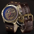 Automatic Watches Men Mechanical Watch Skeleton Bronze Steampunk Transparent Self Winding Mens Watches Retro Leather Man Clock
