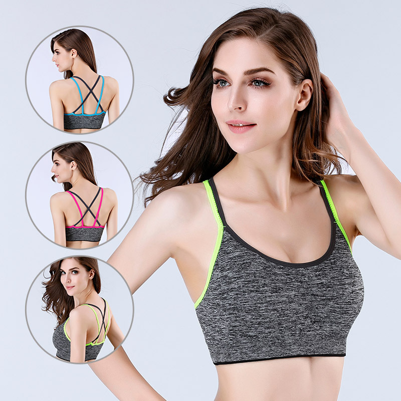 Casual Active Bra Women Push Up Wear Tops Shockproof Gym Brassiere Cross Crop Top Female Plus Size
