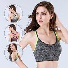 Casual Active Bra Women Push Up Wear Tops Shockproof Gym Brassiere Cross Crop Top Female Plus Size