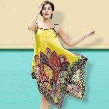 ФОТО sexy stain silk night dress print nightgown women sleepwear summer nighty fashion nightwear