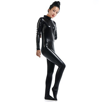 56fdb979fc5 Ensnovo Women Lycra Nylon Shiny Metallic Zentai Black Suit Turtleneck  Unitard Custom Skin Bodysuit Cosplay Halloween Costume