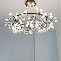 Nordic Art Design светодио дный люстры Firefly подвесной светильник для Гостиная затемнения дистанционного дерева лист висит свет блеск