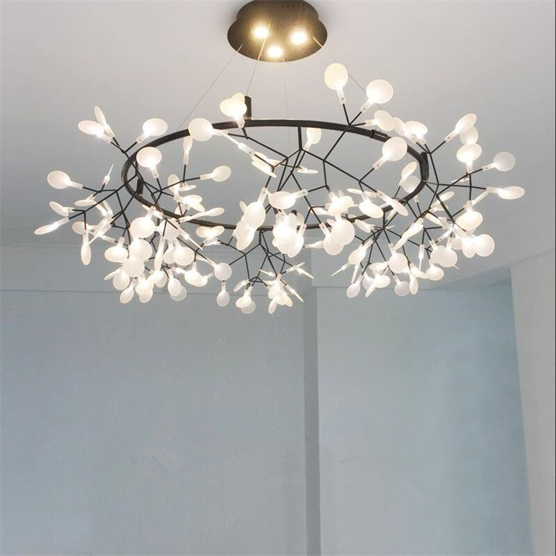 Nordic Art Design Lampadario illuminazione a Led Lucciola Lampada a Sospensione Per Soggiorno Remoto Dimming Albero a Foglia Hanging Light Lustre