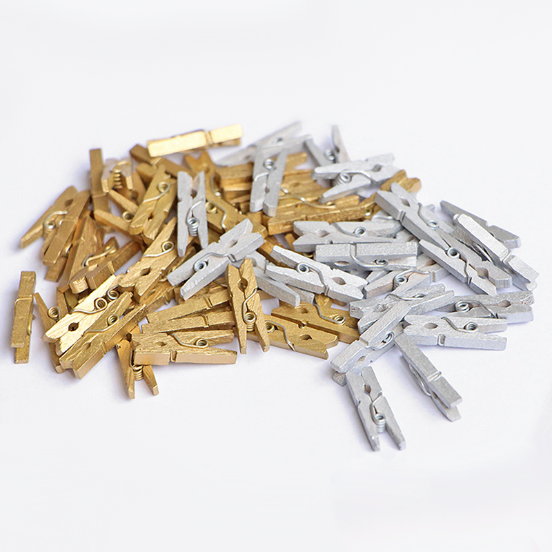 50 Pcs/bag Mini 2.5 Cm Golden Silver Wooden Clip DIY Photo Paper Clips With Hemp Rope Photo Hanging Spring Message Memo Clip