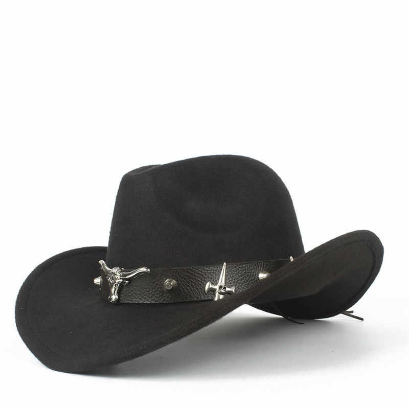 ff16a90b1bc71 100% lana de las mujeres de la moda de los hombres huecos occidental  Sombrero de