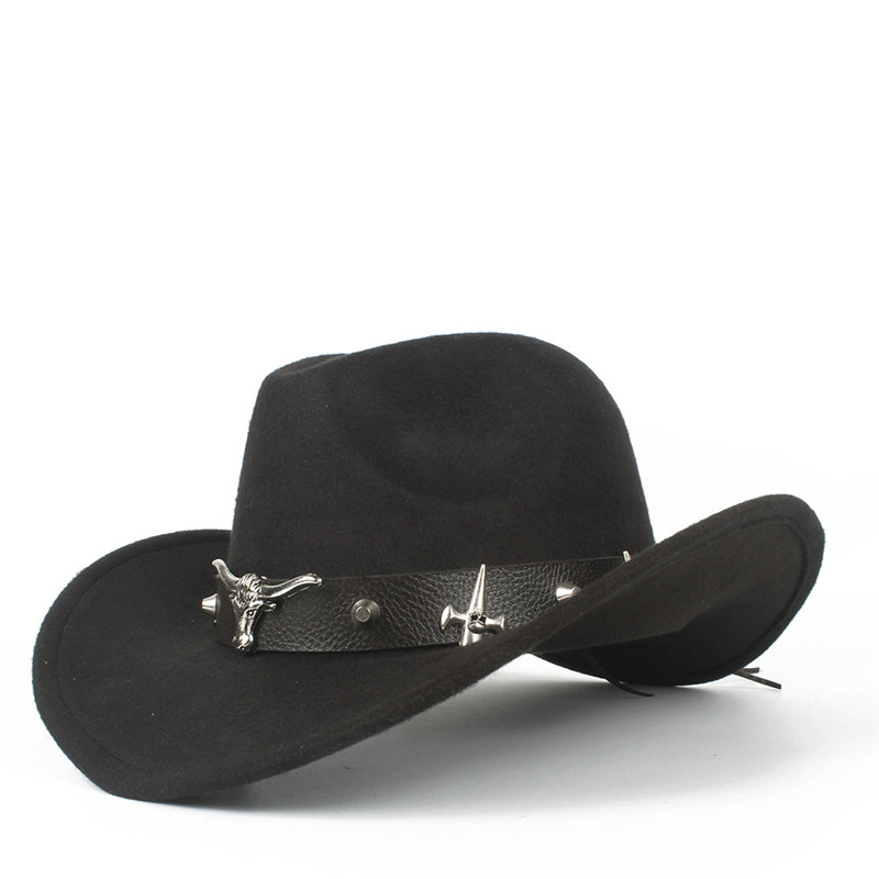 100% Wolle Mode Frauen Männer Hohl Western Cowboy Hut Mit Tauren Gürtel Winter Outback Jazz Toca Sombrero Kappe Größe 56 -58 Cm