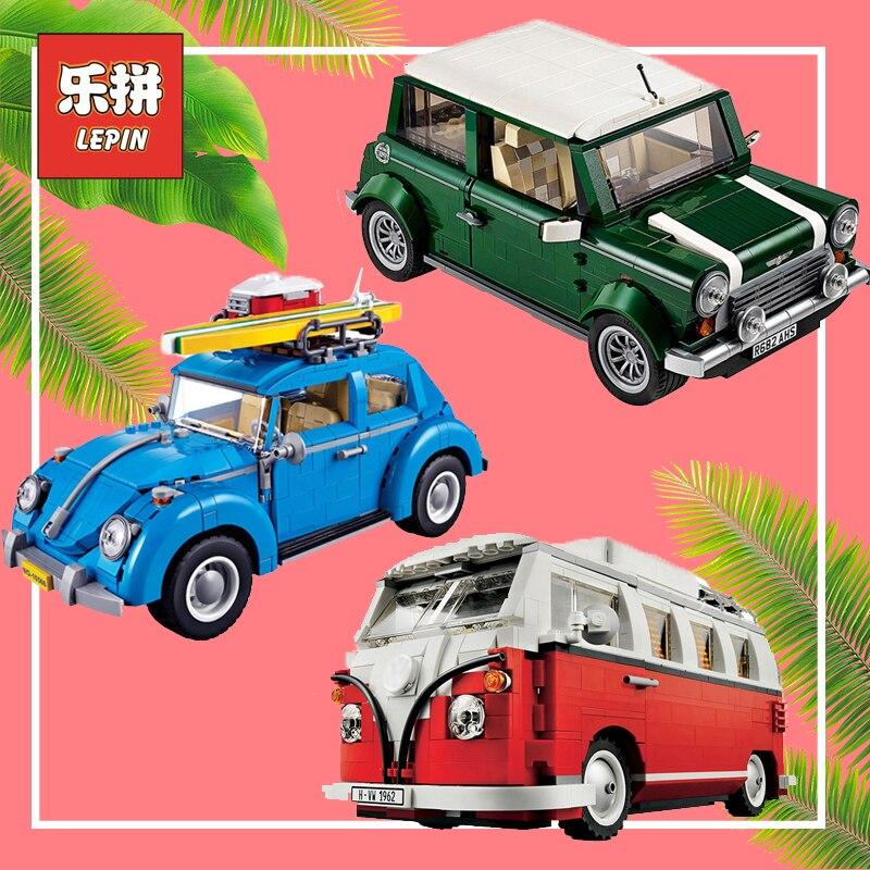 Lepin Technic 21001 Volkswagen T1 Camper 21003 Beetle 21002 Cooper Car Building Blocks Bricks Legoinglys Toys 10220 10252 10242
