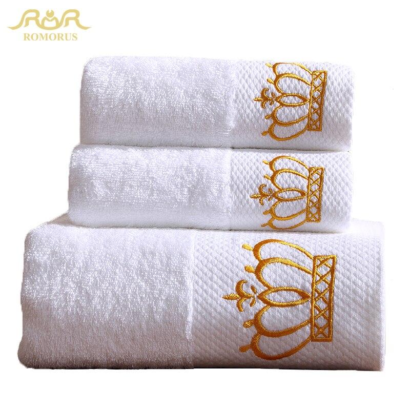 Top Quality 3 Pieces 100 Cotton White 5 Star Hotel Set Towel