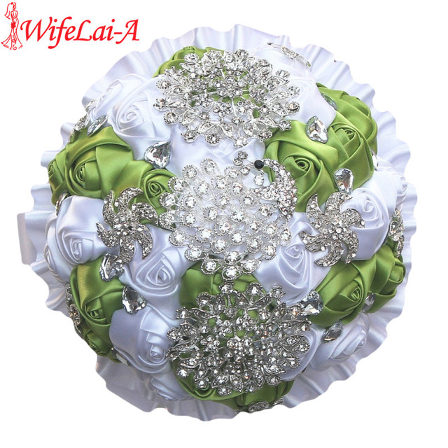 Durable luxury grass green white silk flower bouquet peacock durable luxury grass green white silk flower bouquet peacock diamonds flower brooch bridal bouquets can be mightylinksfo
