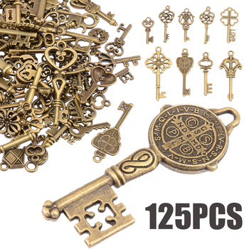 125 Pcs/set Kreatif Vintage Antik Perunggu Kunci Mewah Jantung Busur Liontin Kalung Gantung Dekorasi Tampilan Lama DIY Kerajinan Retro