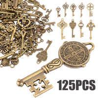 125 teile/satz Kreative Vintage Antike Bronze Skeleton Schlüssel Phantasie Herz Bogen Anhänger Halskette Hängen Dekor Alten Look DIY Handwerk Retro