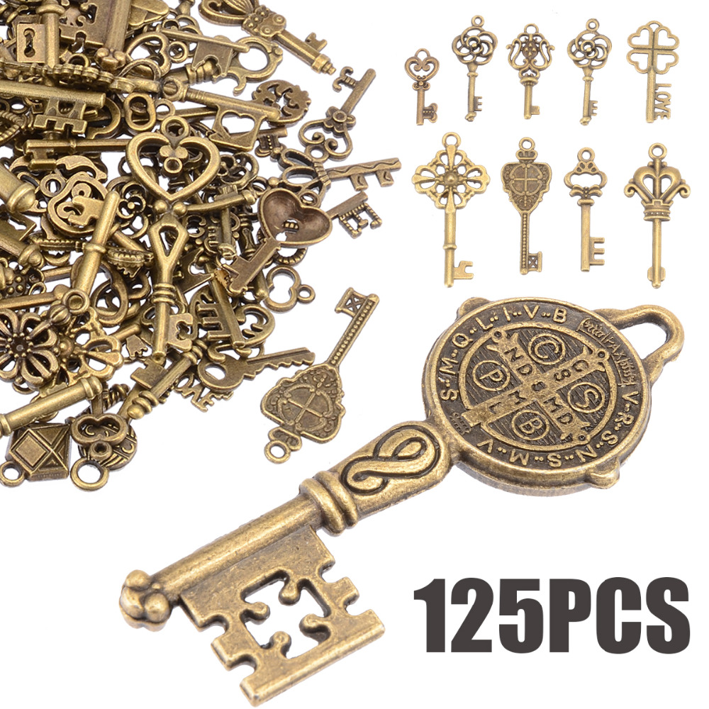 125pcs/set Creative Vintage Antique Bronze Skeleton Keys Fancy Heart Bow Pendant Necklace Hanging Decor Old Look DIY Craft Retro