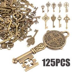 125pcs/set Creative Vintage Antique Bronze Skeleton Keys Fancy Heart Bow Pendant Necklace Hanging Decor Old Look DIY Craft Retro