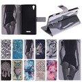 Hot couro flip case capa para sony xperia t3 d 5103 móvel tampa do telefone carteira stand com suporte de cartão com chip magnético para sony t3