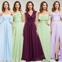 Mix Design Bridesmaid Dresses Long Design Ruffle Neck Chiffon Bridesmaid Dress Vestido Longo