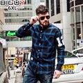 BIG GUY Casual Men Shirt Long Sleeve 2017 Spring  Plus Size Male Shirts Blue and Black Men Plaid Shirt 6XL 1530