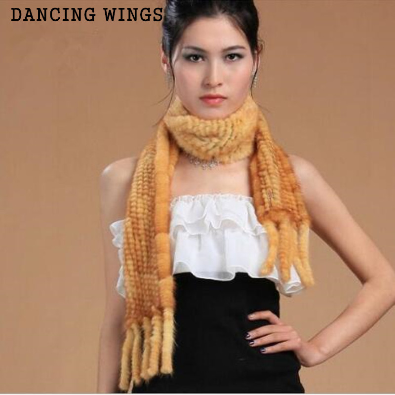 Women Knitted Real Natural Mink Fur Scarves With Tassels Winter Neck Warmer Women Wrap Cape Poncho