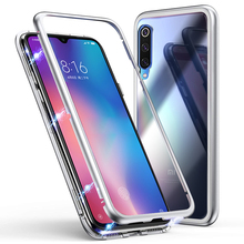 Metal Bumper Case for Xiaomi Mi 9 SE Magnetic Adsorption Glass Mi9 Cover + hydrogel film