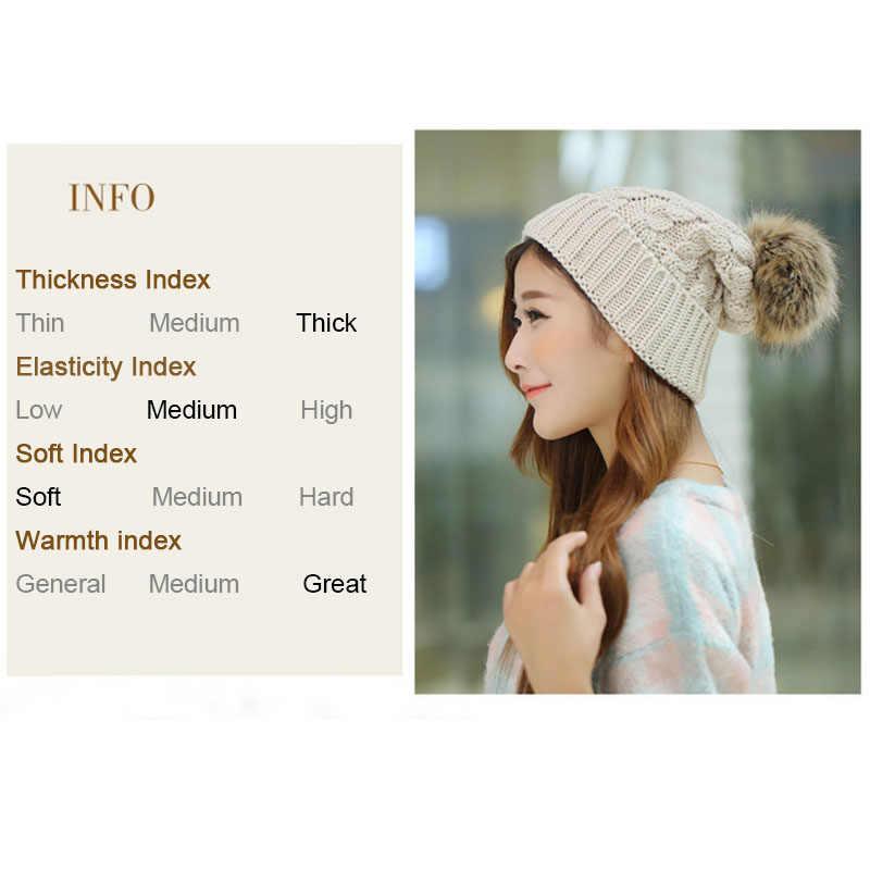 c6f6c4e9406 ... 2018 Women s Winter Hats Beanies Knitted Women Cap Crochet Winter Hats  For Female Cute Casual Fur