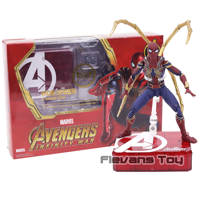 купить Marvel Avengers Infinity War SHF SHFiguarts Iron Spider PVC Action Figure Spiderman Toys Gifts недорого