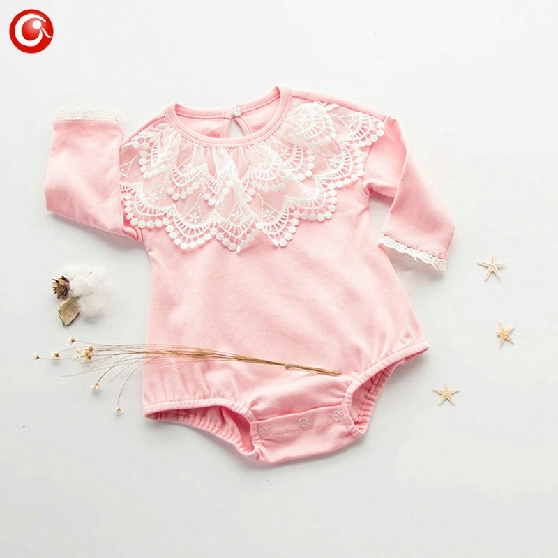 2016 Casual Pink Baby Bodysuit With Lace Princess Newborn Girls Cotton Long Sleeve Body Clothes Infant Underwear For Christmas (5)
