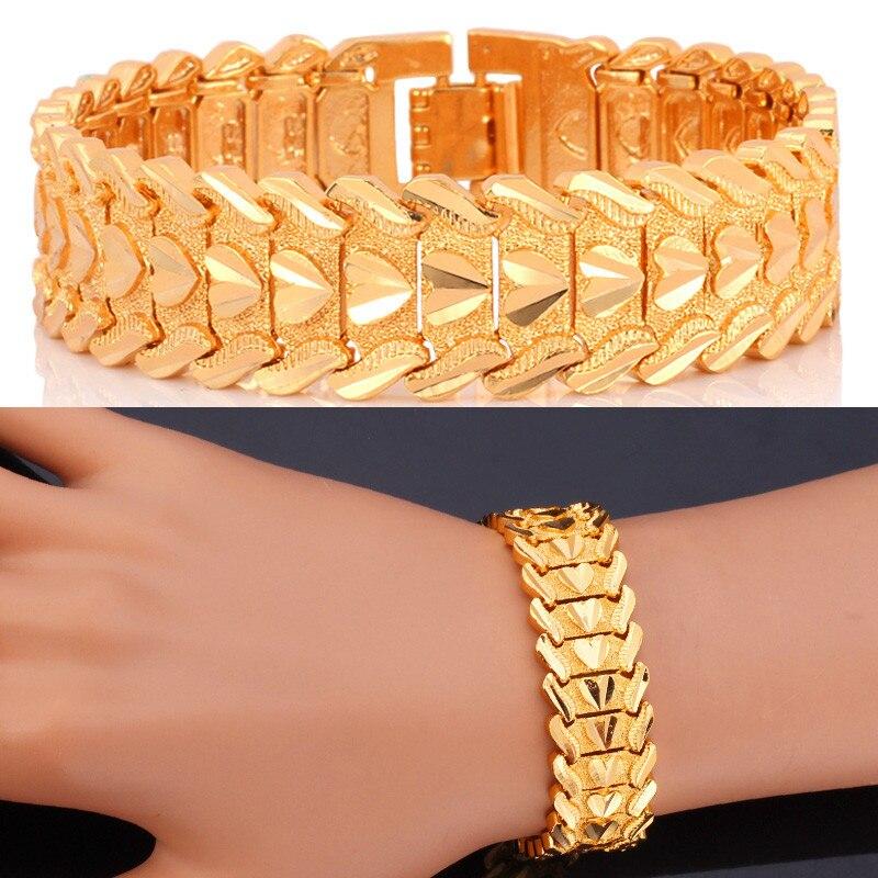 Prix pour Collare Valentives Cadeau Pour Hommes Bijoux À La Mode Bracelet Hommes Amour Coeur Or/Argent Couleur 20 CM Mens Bracelets H179